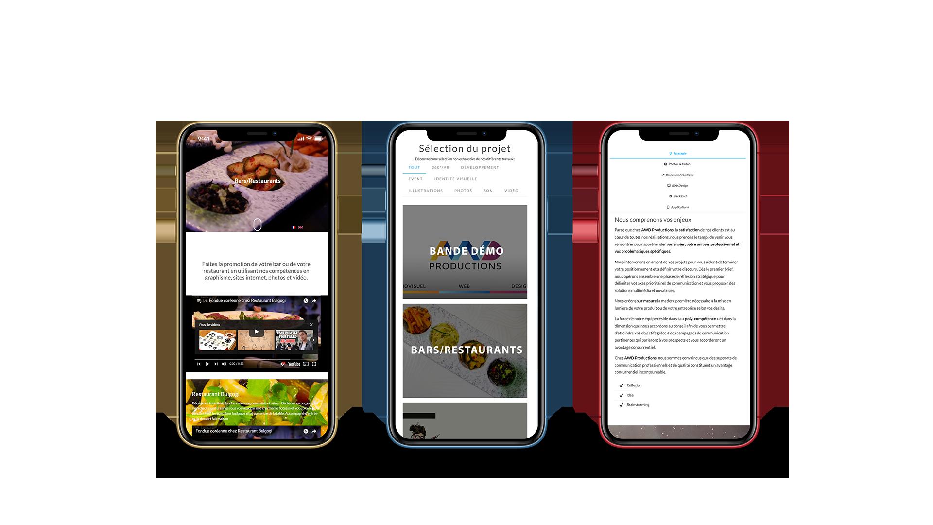 Plusieurs pages du site vue sur un smartphone