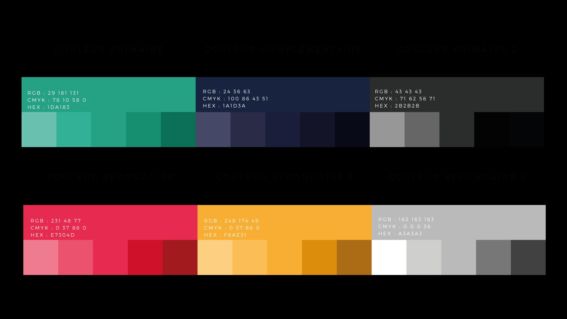Palette de couleurs pour le logo Kevin Placide