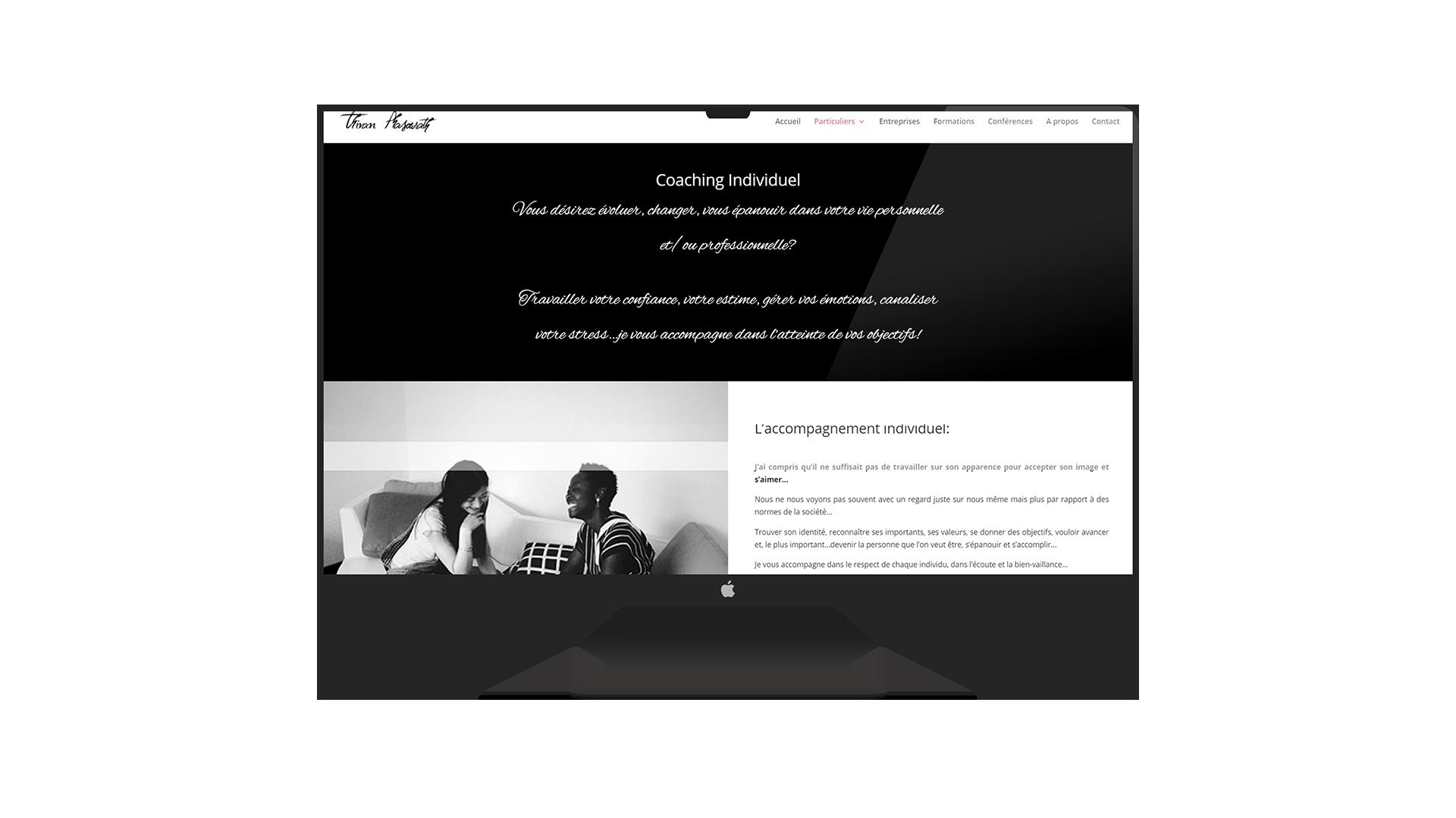 Page web Thivan, coaching individuel